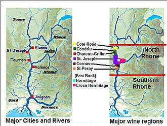 Château-Grillet AOC - The Château-Grillet AOC (marked in red) within the Condrieu AOC (marked in green) among other wine regions of the northern Rhone.