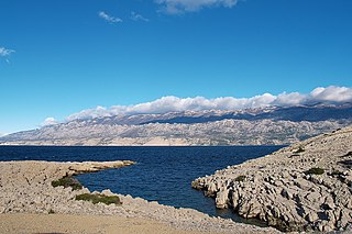 Velebit seen from the Island of Pag, is the largest mountain range in Croatia