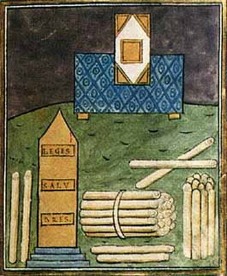 Quaestor sacri palatii - The insignia of the quaestor sacri palatii, from the Notitia Dignitatum: the codicil of office on a stand, surrounded by law scrolls.