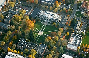 Oregon State University - Aerial view of Memorial Union Quad