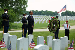 Abraham Lincoln National Cemetery - President Barack Obama on Memorial Day, May 31, 2010. (Official White House Photo by Pete Souza)