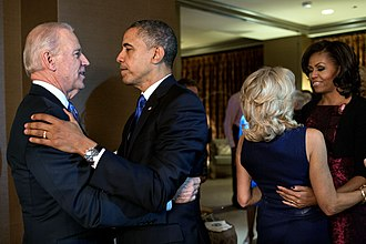 Michelle Obama - Obama (far right) celebrates with Jill Biden after their husbands win re-election.