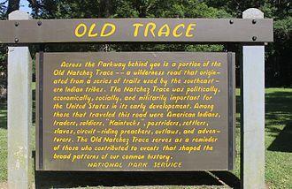 Natchez Trace - Old Trace historical marker