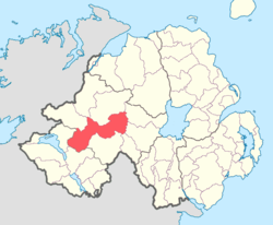 Location of Omagh East, County Tyrone, Northern Ireland.