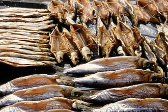 Fishing industry in Russia - Omul fish, endemic to Lake Baikal. Smoked and on sale at Listyanka market.
