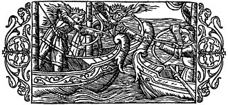"""Alf and Alfhild - """"On Viking Expeditions of Highborn Maids: Two female warriors, of royal family according to the crowns on their heads, are participating in a sea battle."""" From Olaus Magnus' A Description of the Northern Peoples from 1555."""