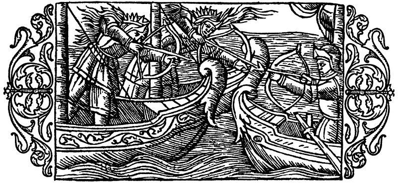 Zwei kämpfende Frauen auf See. Von Olaus Magnus' History, 1555. Quelle.