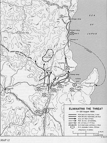 A map showing troops moving north and destroying opposing formations there