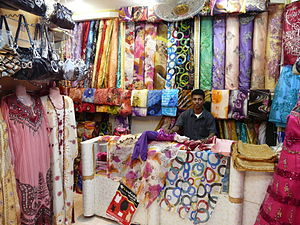Textile - Fabric shop in canal town Mukalla, Yemen