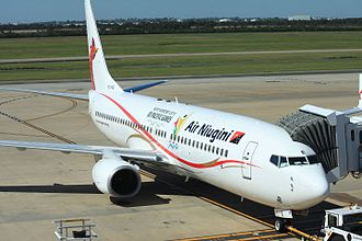 Air Niugini Flight 73 - P2-PXE, the aircraft involved in the accident, at Brisbane Airport in 2014.