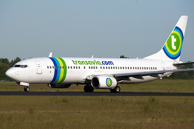Transavia.com Boeing 737-800 taxing at Schiphol Airport.