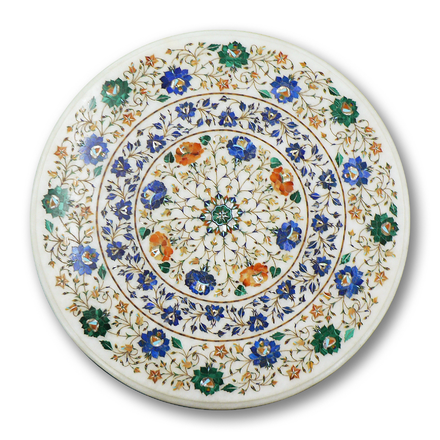 A marble table top in Pietra Dura, a craft practised since the Mughal era in Agra PIETRA DURA - Agra - India.png