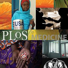 "Montage with central stripe reading ""PLoS MEDICINE"". Other images are orange segments, a woman in a blue shawl carrying a food package labeled ""USA"", a pregnant woman holding hands with a child, a hand holding several different pills over a lap covered by a colorful dress, patients in a hospital, and pills on a leaf."