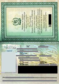 Current Pakistani passport. (Areas containing personal information are grayed out).