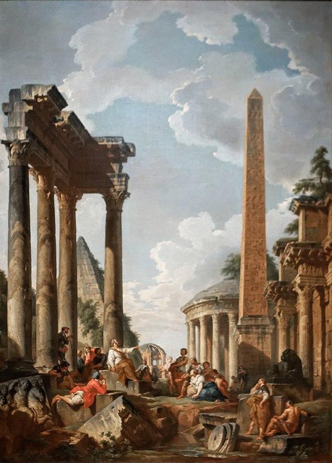 Architectural Capriccio with a Preacher in Roman Ruins