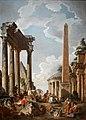Pannini - Caprice architectural avec prédicateur dans des ruines romaines 01.jpg