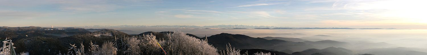 Southwards view from Blauen with the Swiss Jura Mountains and the Alps in the background