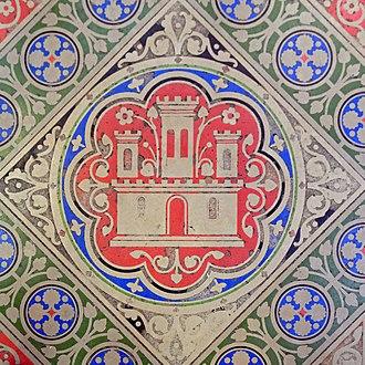 Heraldry of Castile - The heraldic castle of Castile in homage to Queen Blanche (Sainte-Chapelle, Paris)