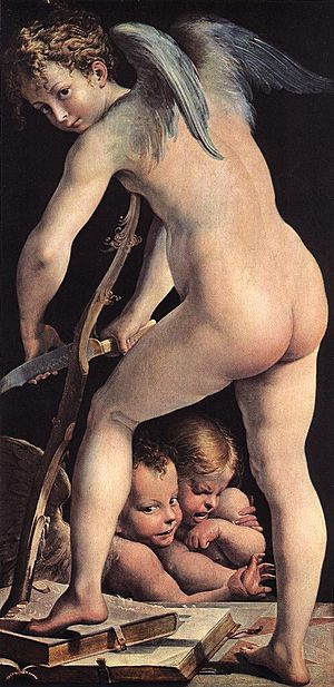 Cupid Making His Arch - Image: Parmigianino Cupid WGA17032