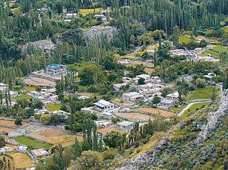 Gulmit - The 7,500 metre tall Passu Sar mountain overlooks the city