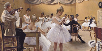 Royal Danish Ballet - The Royal Theatre Royal Danish Ballet school, Copenhagen. Painting shows violinist Busch, the ballerina Charlotte Weihe (standing centre foreground) and the ballet master Emil Hansen, seated on the right. (Paul Gustave Fischer, 1889)