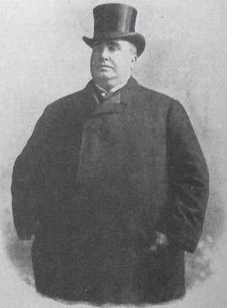 "Paul Dresser - Paul Dresser as he appeared on the 1897 back cover of the sheet music for ""On the Banks of the Wabash, Far Away"""
