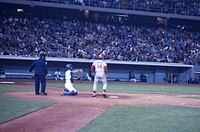 Pete Rose at bat in a game during the 1970s.