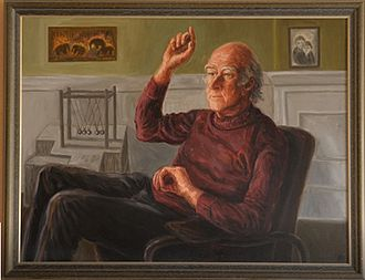 Peter Higgs - Peter Higgs portrait by Lucinda Mackay hanging at James Clerk Maxwell Foundation