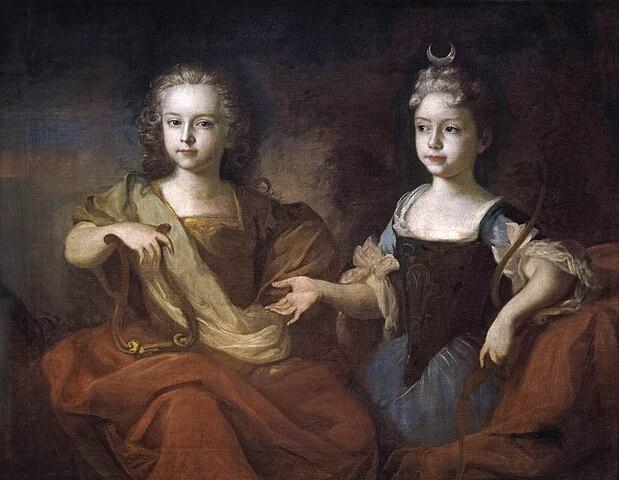 Внуки Петра I Пётр и Наталья в детстве, в образе Аполлона и Дианы.Худ. Луи Каравак, 1722
