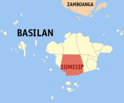 Map of Basilan Province with Sumisip highlighted