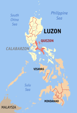 Map of the Philippines with Quezon highlighted