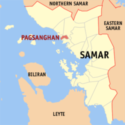 Map of Samar with Pagsanghan highlighted