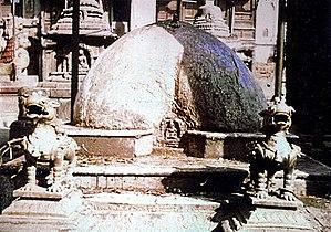 Phallus - Phallic religious sculpture, Kathmandu street, Nepal 1973