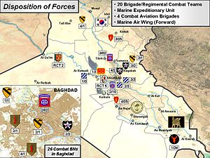 Operation Phantom Thunder - MNF-I map showing disposition of Coalition forces prior to the launch of Operation Phantom Thunder