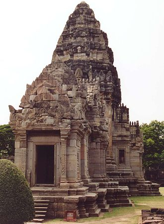 Prang (architecture) - Main shrine of the Khmer temple in Nakhon Ratchasima, exhibiting a prang.