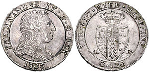 Ferdinand I of the Two Sicilies - Piastra of Ferdinand IV of Naples, dated 1805.