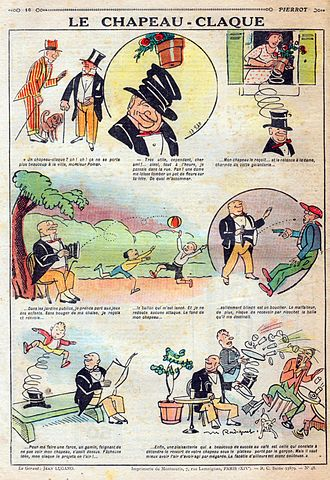 Opera hat - French comic book from 1926 that exhibits the advantages with the spring device mechanism of the collapsable top hat.