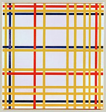 A painting of yellow, red, and blue lines arranged in a woven lattice or grid-like pattern.