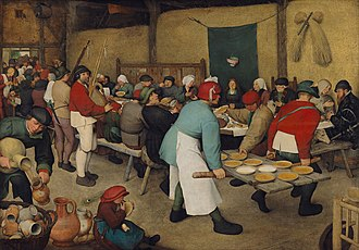 Doedelzak - The Peasant Wedding, a 1567 or 1568 painting by Pieter Bruegel the Elder, with two men playing pijpzaks