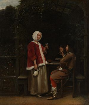 A Woman and Two Men in an Arbour - Image: Pieter de Hooch Drinkers in a Bower
