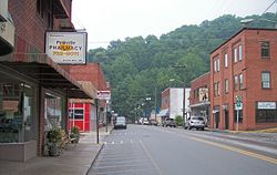Main Street(West Virginia Route 97) in Pineville in 2007