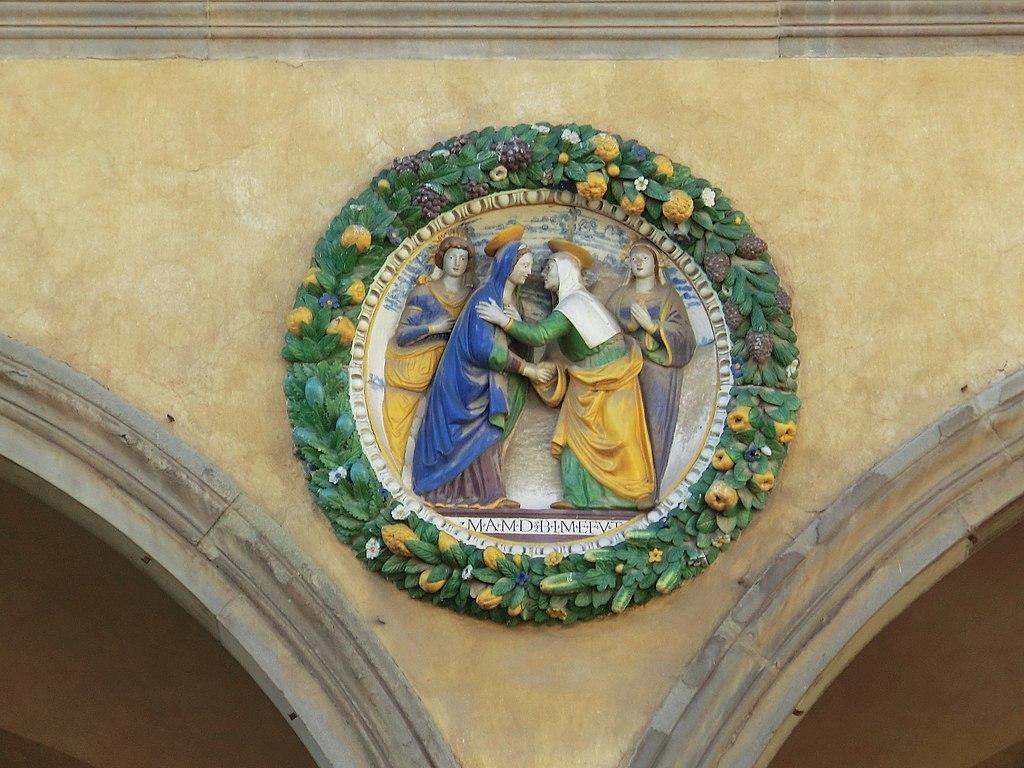 Pistoia, Ospedale del Ceppo Giovanni della Robbia, Visitation, c. 1525, Glazed terracotta, Ospedale del Ceppo