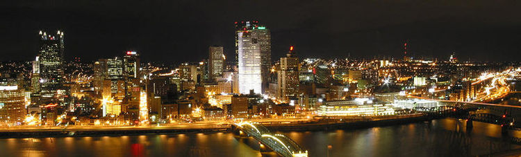 Panoramic view of downtown at night
