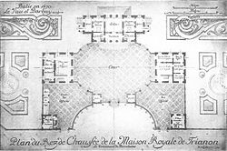 A plan of the Trianon de Porcelaine; built for Madame de Montespan by Louis XIV. It was there that she sought to escape from court life