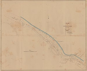 Gympie - Map of gold mining leases and claims on the Deep Lead, 1869