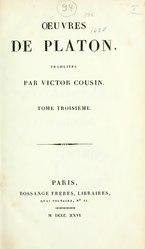 Platon: Œuvres de Platon, traduites par Victor Cousin