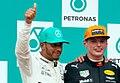 Podium 2017 Malaysia, Lewis Hamilton and Max Verstappen.jpg