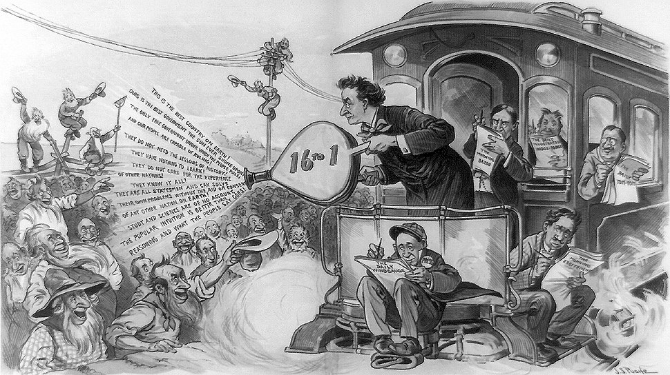 Political cartoon mocking William Jennings Bryan's whistle-stop campaign