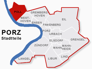 Poll, Cologne - map of Poll within the district of Porz