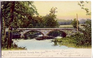 Norwalk River - New Canaan Bridge over the river, from a postcard (1906)
